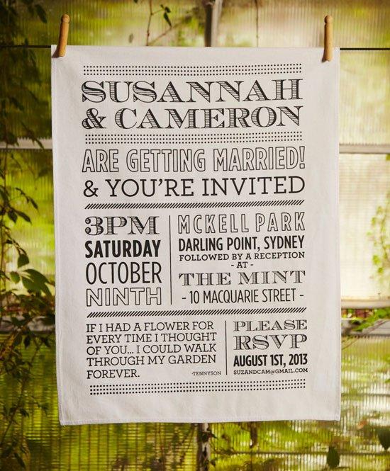Wedding invitation tea towels - screenprinted unique invitations!