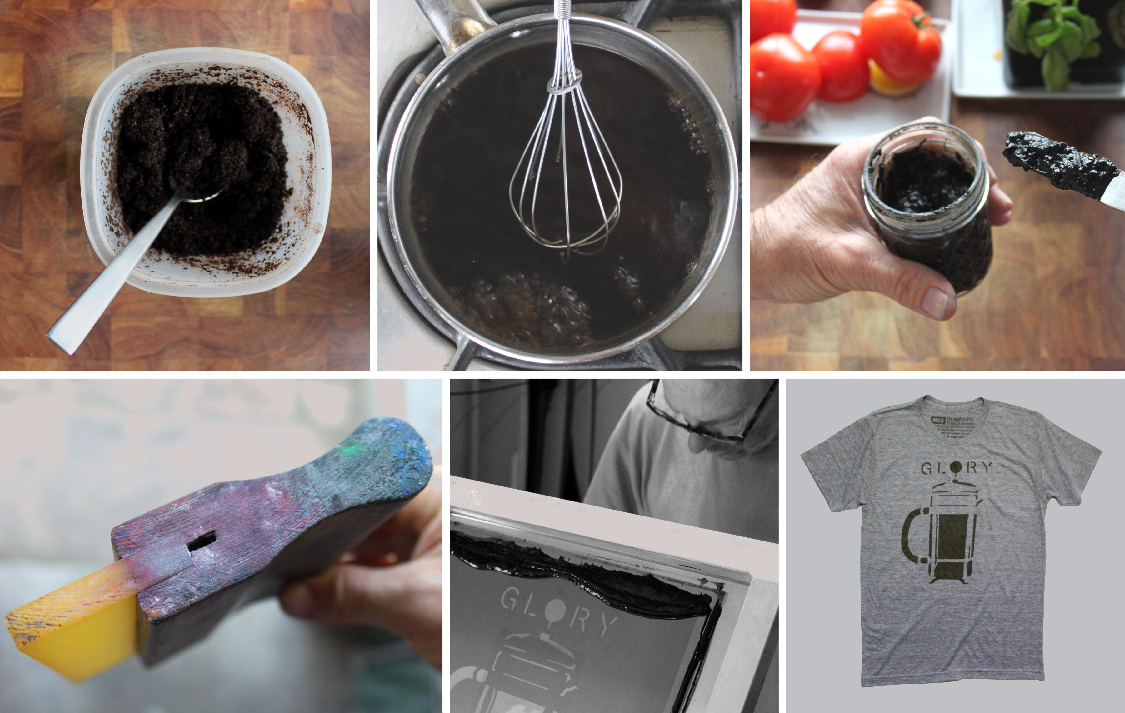 Domestic prints - prints using spent coffee grounds - amazing upcycling idea.