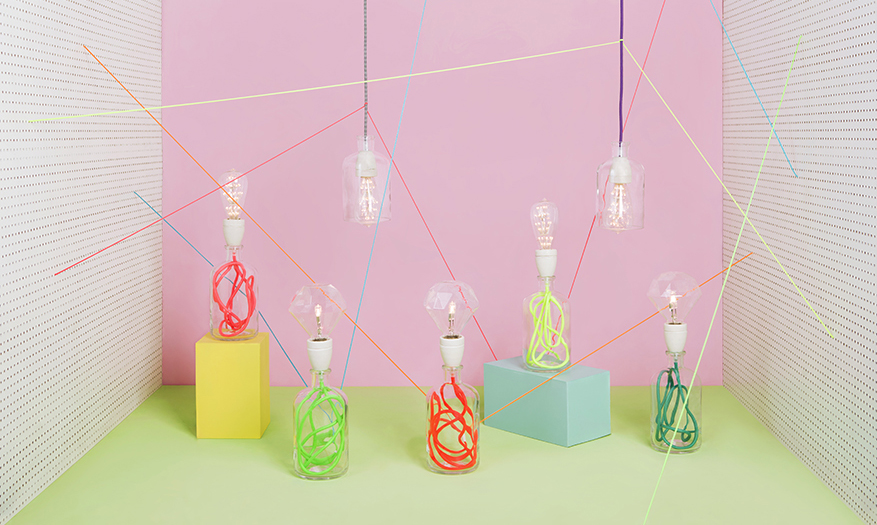 Brilliantly bright colourful lamps by Mana Manna